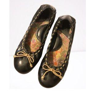 Born Black Bow Leather Ballet Flats Shoes